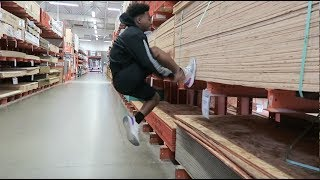 DID FLIPS IN HOME DEPOT! ALMOST BROKE MY NECK (MUST WATCH) ll DESHAE FROST, BAILEY PAYNE, JACK PAYNE