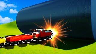 BRICK RIGS TRAIN vs GIANT ROLLING BLOCK! - Brick Rigs Gameplay - Lego Train Crashes and Destruction!
