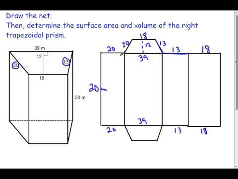 Trapezoidal prisms volume and surface area 72 youtube ccuart Choice Image