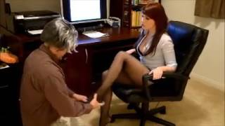 Sexy Office Secretary in Black Pantyhose 2