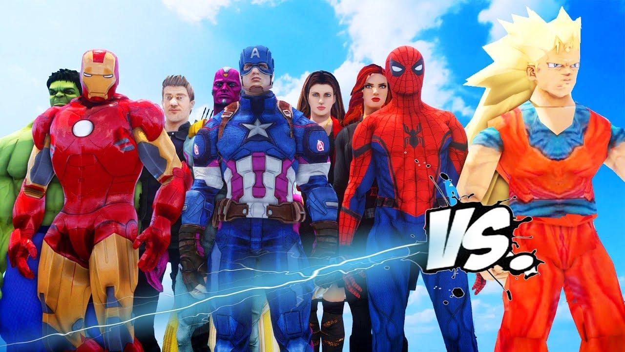The Avengers Vs Goku Hulk Iron Man Captain America Thor Spider Man Black Widow Vs Goku