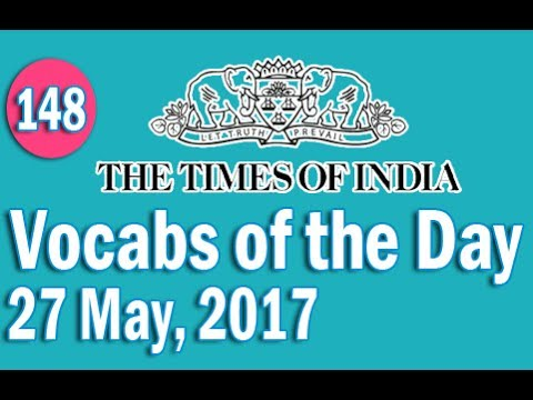 The Times of India Vocabulary (27 May, 2017) - Learn 10 New Words with Tricks | Day-148