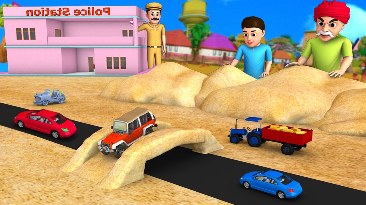 Sand Bridge - Police Jeep | ఇసుక వంతెన పోలీసు జీపు 3D Animated Funny Comedy Moral Stories in Telugu