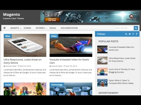 Magento free blogger template preview