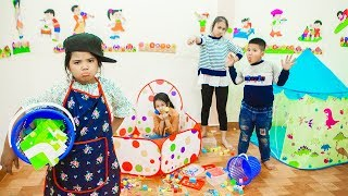 Kids Go To School | Chuns Learn How To Clean The House With Brother