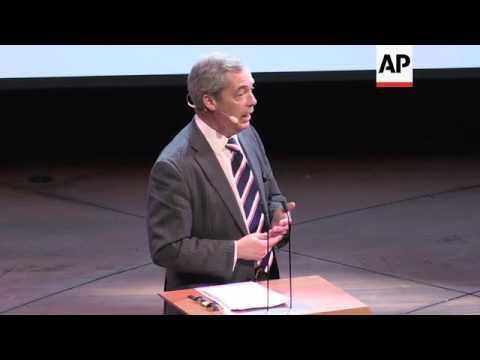 Farage Addresses News Xchange Conference