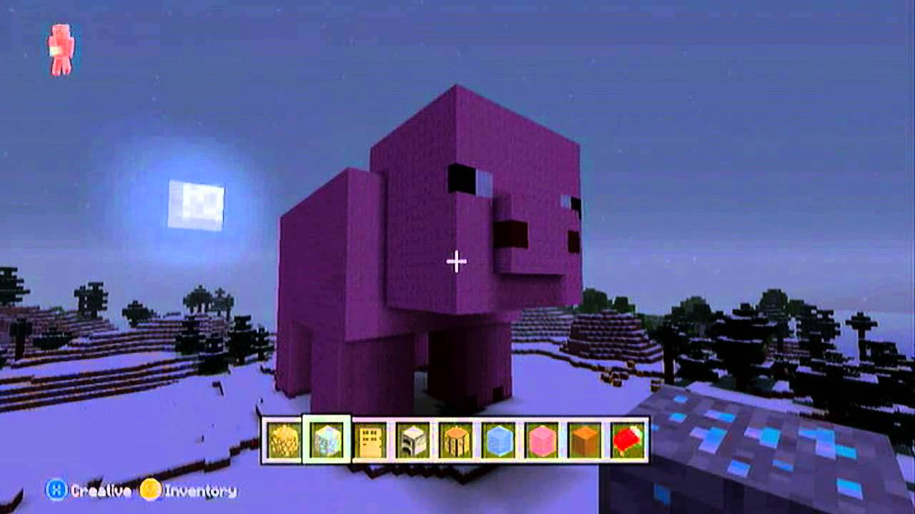 minecraft xbox 360 edition: creative mode/giant pig! - youtube