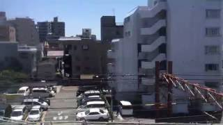 東武スカイツリーライン竹ノ塚駅付近下り急行線高架化後の車窓