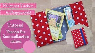 Tasche für Sammelkarten nähen   Nähen mit Kindern   Nähschule   DIY Nähanleitung   mommymade