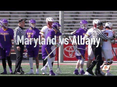 University of Albany vs. University of Maryland Lacrosse Game Highlights