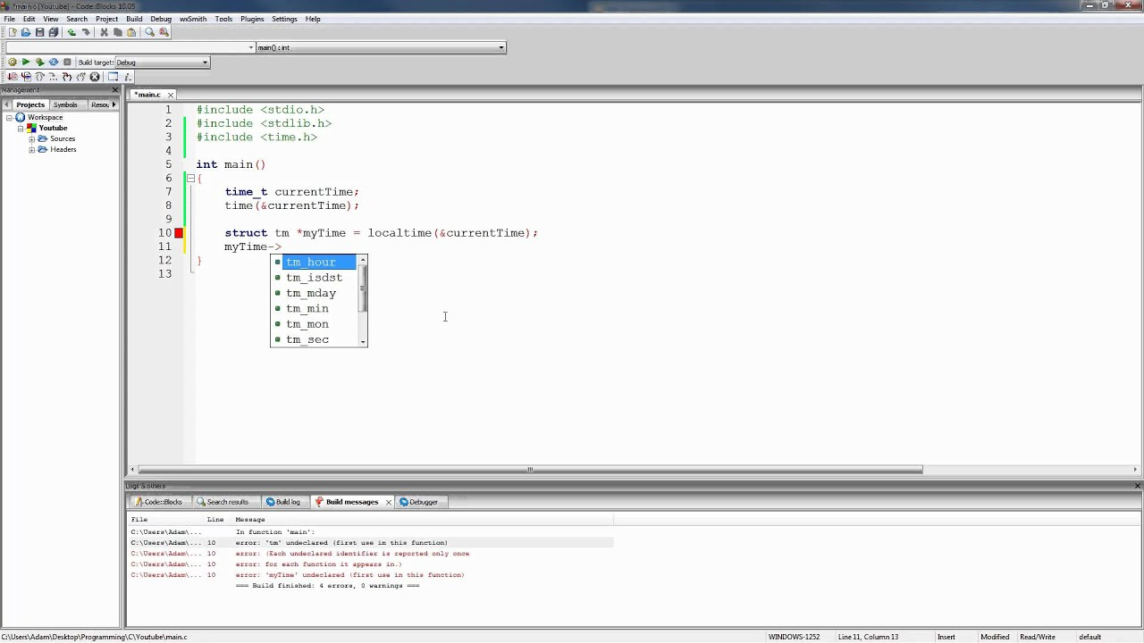 C Programming Tutorial 76, Time Functions