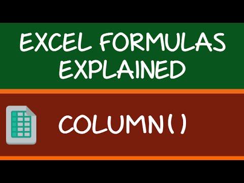 COLUMN Formula in Excel