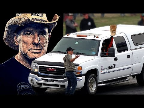 FarmTruck drag racing his tow rig in daily driver race Tulsa Oklahoma