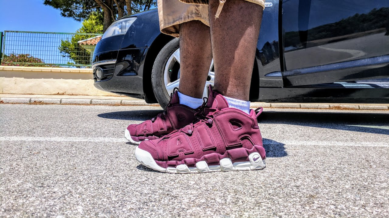 wholesale dealer 2f5a3 c481a NIKE AIR MORE UPTEMPO QS MAROON REVIEW AND ON FEET!