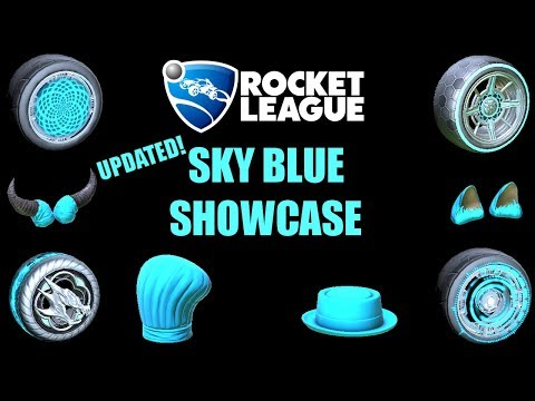 All SKY BLUE Wheels, Boosts, and Cars! Rocket League Inventory Showcase