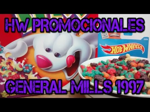 Hot Wheels promocionales General Mills 1997, Hotwheels México, cereal Trix, Cheeiros, Lucky Charms.