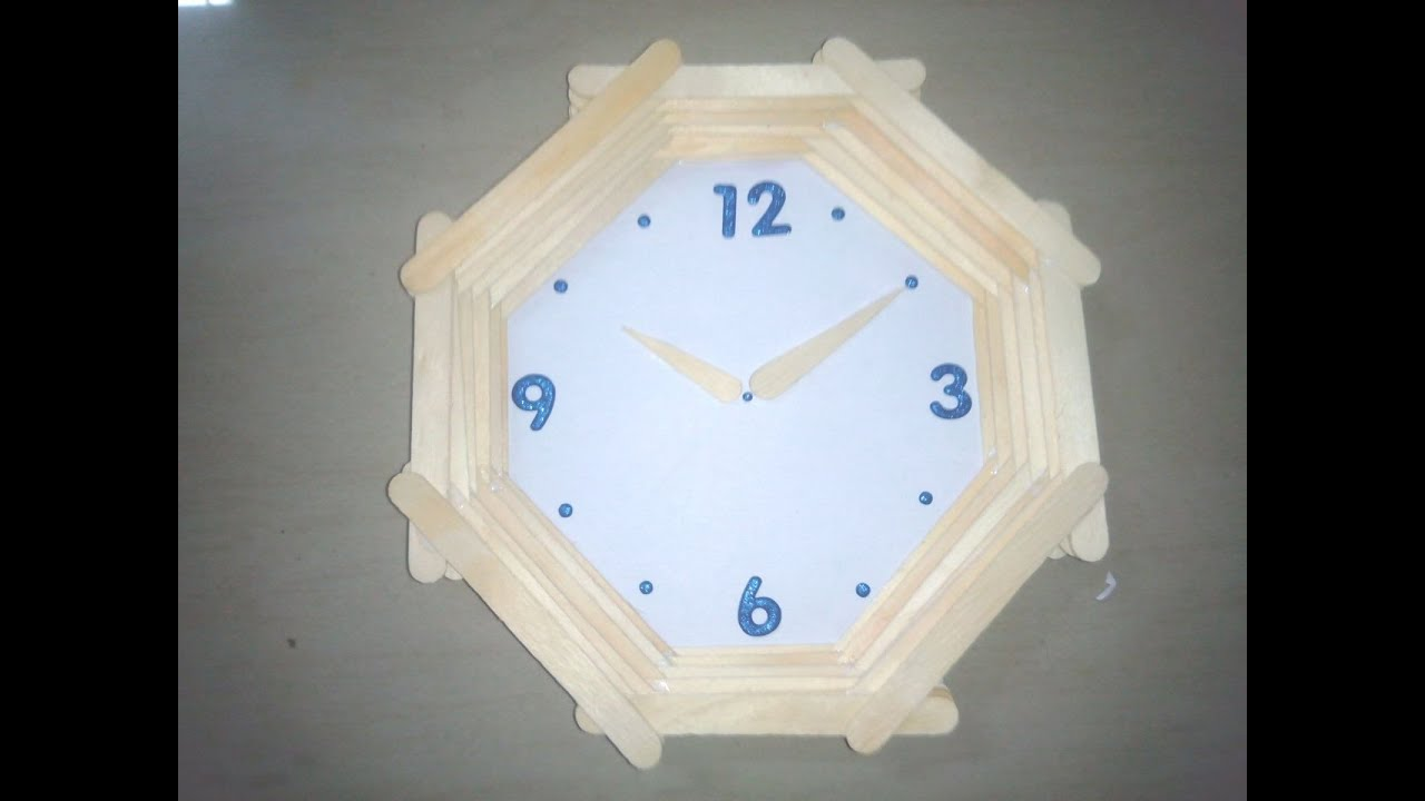 how to make wall clock with ice sticks youtube