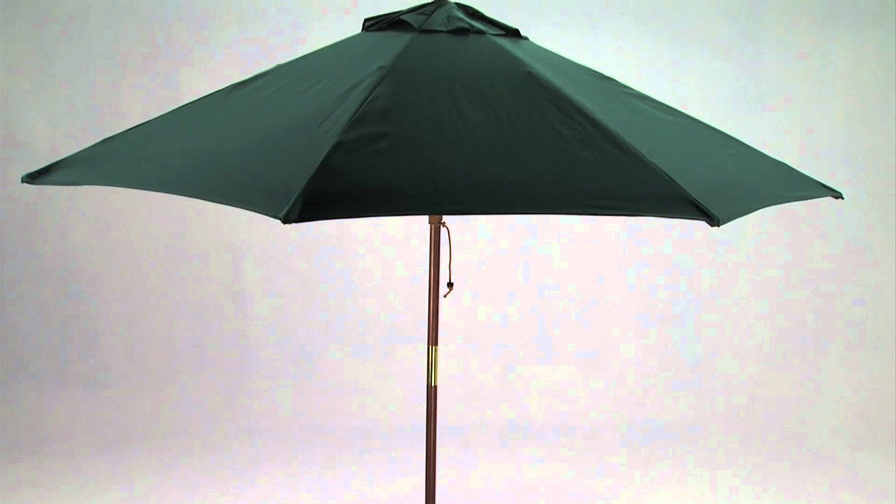 9 Foot Wooden Market Patio Umbrella