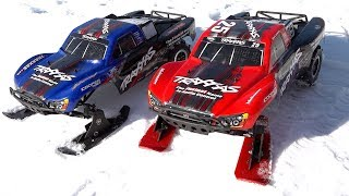 Mother & Son drive Traxxas Slash Trucks with SKIS in SNOW! | FAMILY RC ADVENTURES!