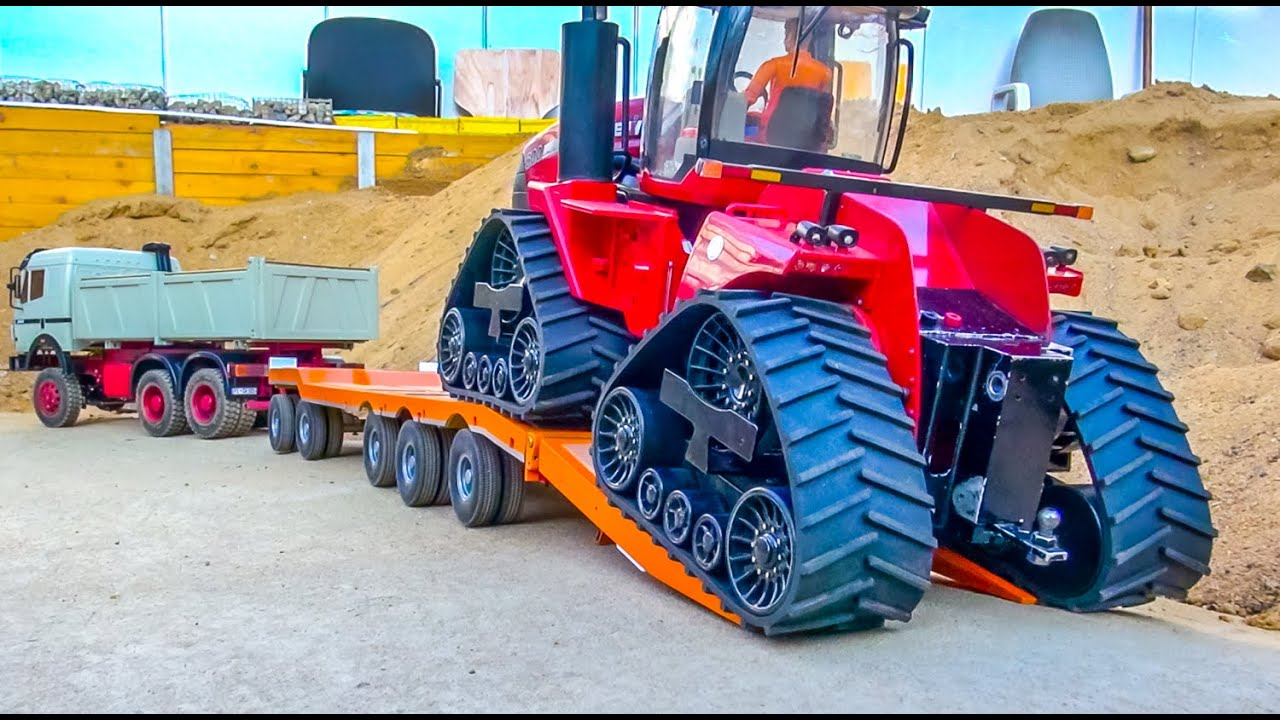 RC Truck heavy transport! Tractor stuck! - YouTube