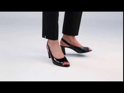 Gabor Rumble Black Patent Hi Tec Open Court Shoes