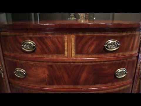 Antique Flamed Mahogany & Satinwood Banded Demi Lune Sideboard - Carrocel Restorations