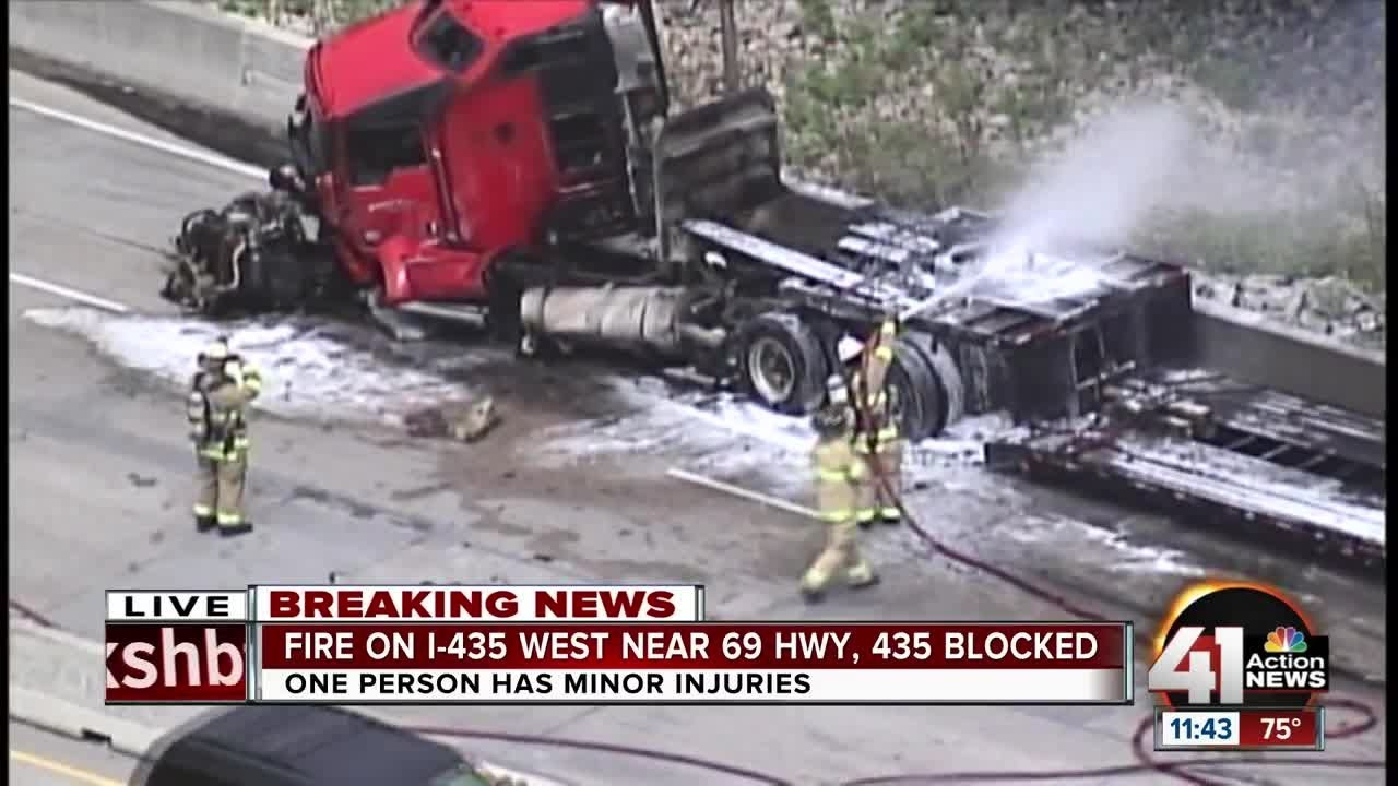 Driver injured in fiery semi rollover wreck on I-435 in Overland Park