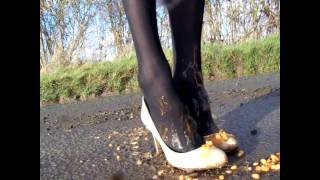 Beautiful Satin Ivory Heels Meet Baked Beans