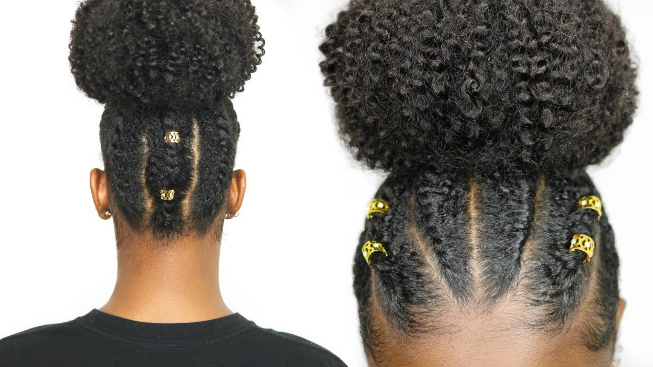 Flat Twist High Bun On Natural Hair Protective Style Youtube