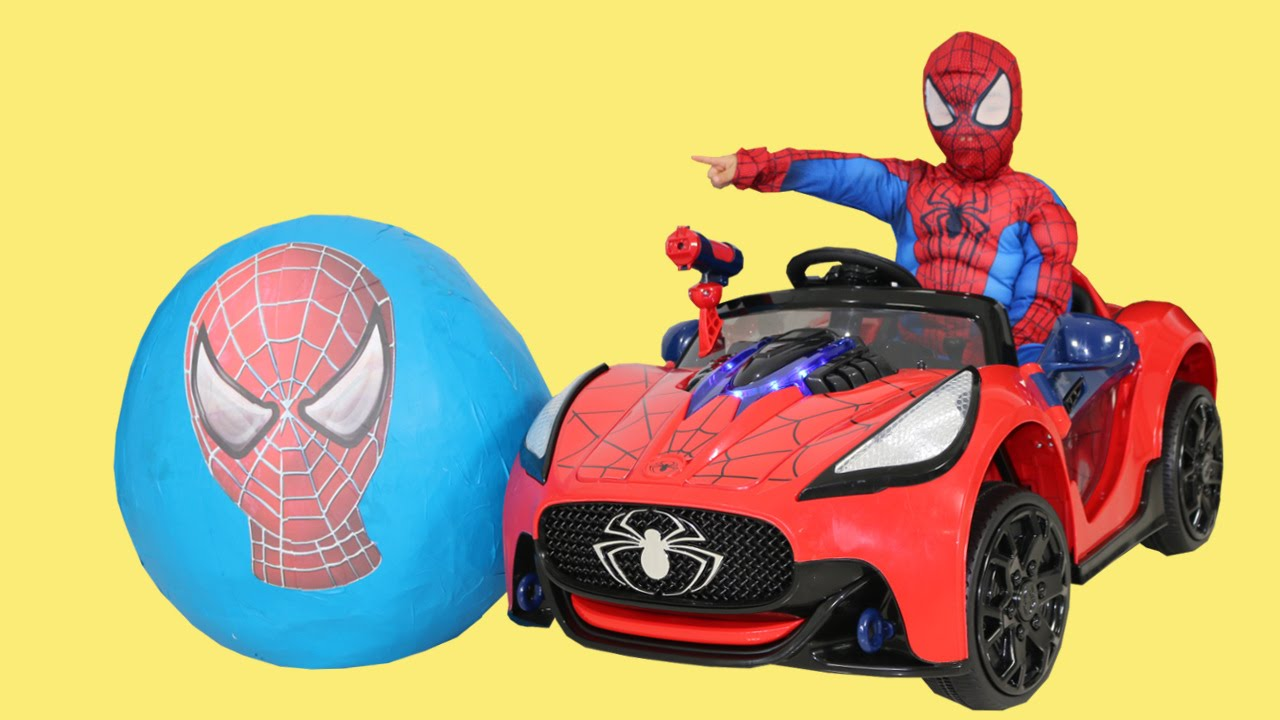 Spiderman Toys For Kids : Spiderman super giant surprise egg toys unboxing opening fun