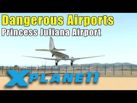 X-Plane 11: Dangerous Airports - St Maarten to St Barths in the Freeware C-47