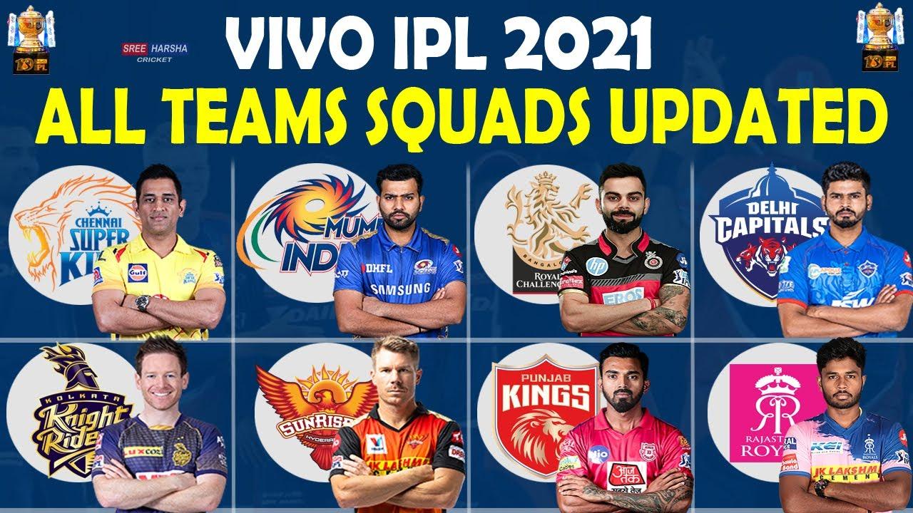 IPL 2021 | All Teams Squads Updated | All Teams Full Players List | CSK RCB MI DC KKR SRH RR PBKS