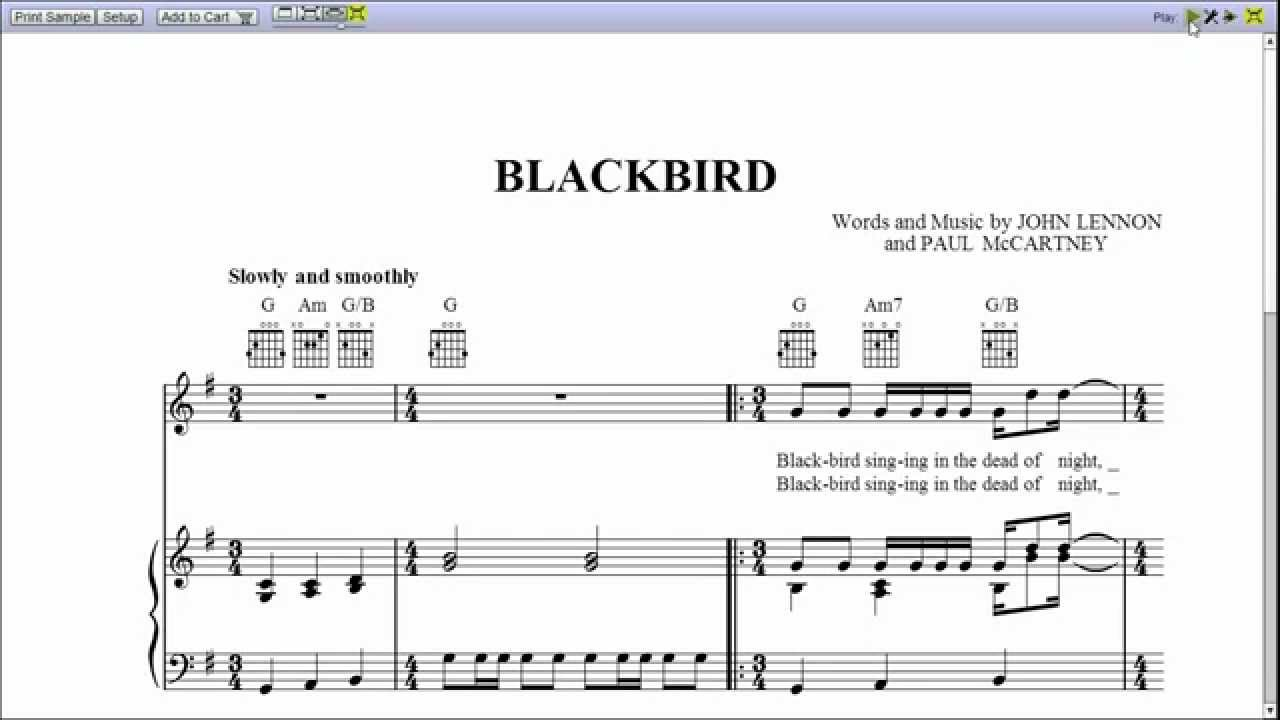 Blackbird piano sheet music youtube hexwebz Images