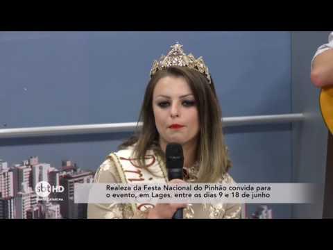 Realeza da festa Nacional do Pinhão visita o SBT Santa Catarina