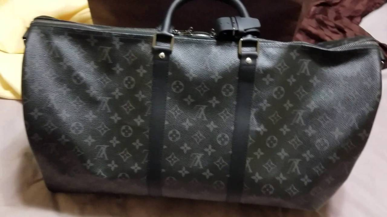 louis vuitton monogram eclipse keepall 55 unboxing youtube. Black Bedroom Furniture Sets. Home Design Ideas