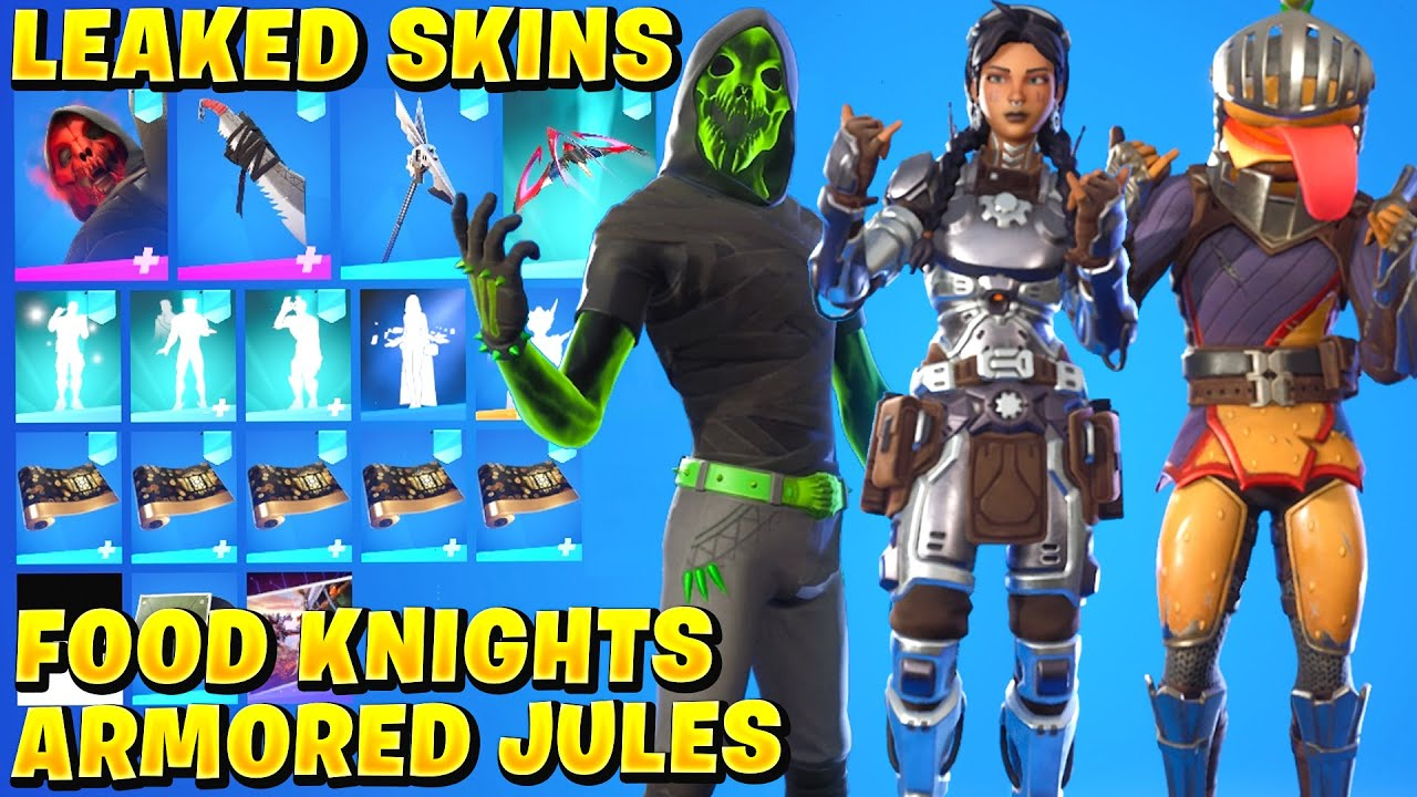 All NEW Leaked Skins u0026 Emotes FOOD KNIGHTS ScrapKnight Armored Jules Gia Raptorian The Brave