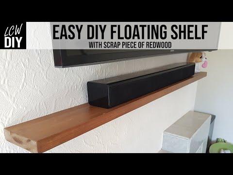 Easy Floating Shelves No brackets using Scrap Redwood/Pine   DIY Vlog #31