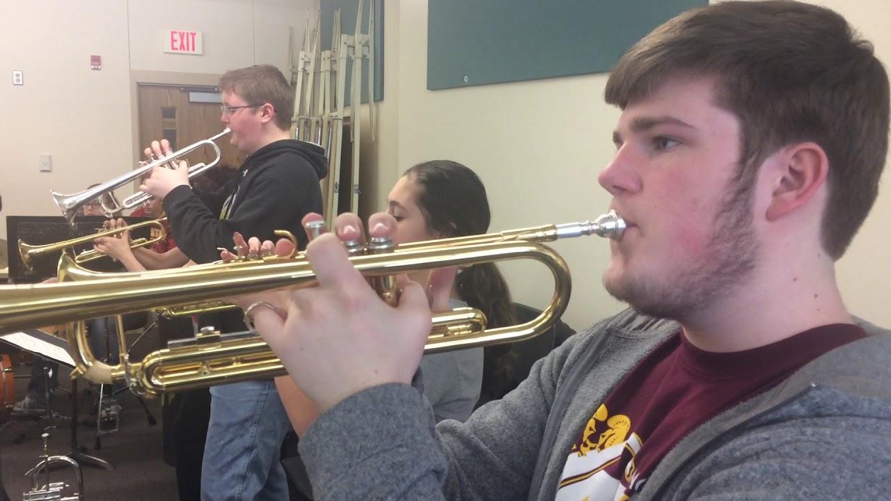 David Kovarna directs the MVAOCOU jazz band in Mapleton, Iowa