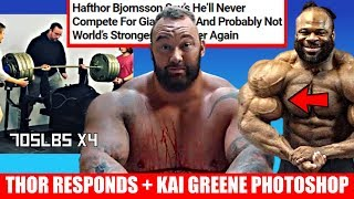 Hafthor Responds to Cheating Video/ Retires? - Kai Greene Photoshop Controversy + 705lb Bench X 4