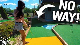 THE CRAZIEST MINI GOLF SHOT EVER! - ALMOST IMPOSSIBLE HOLE IN ONE!