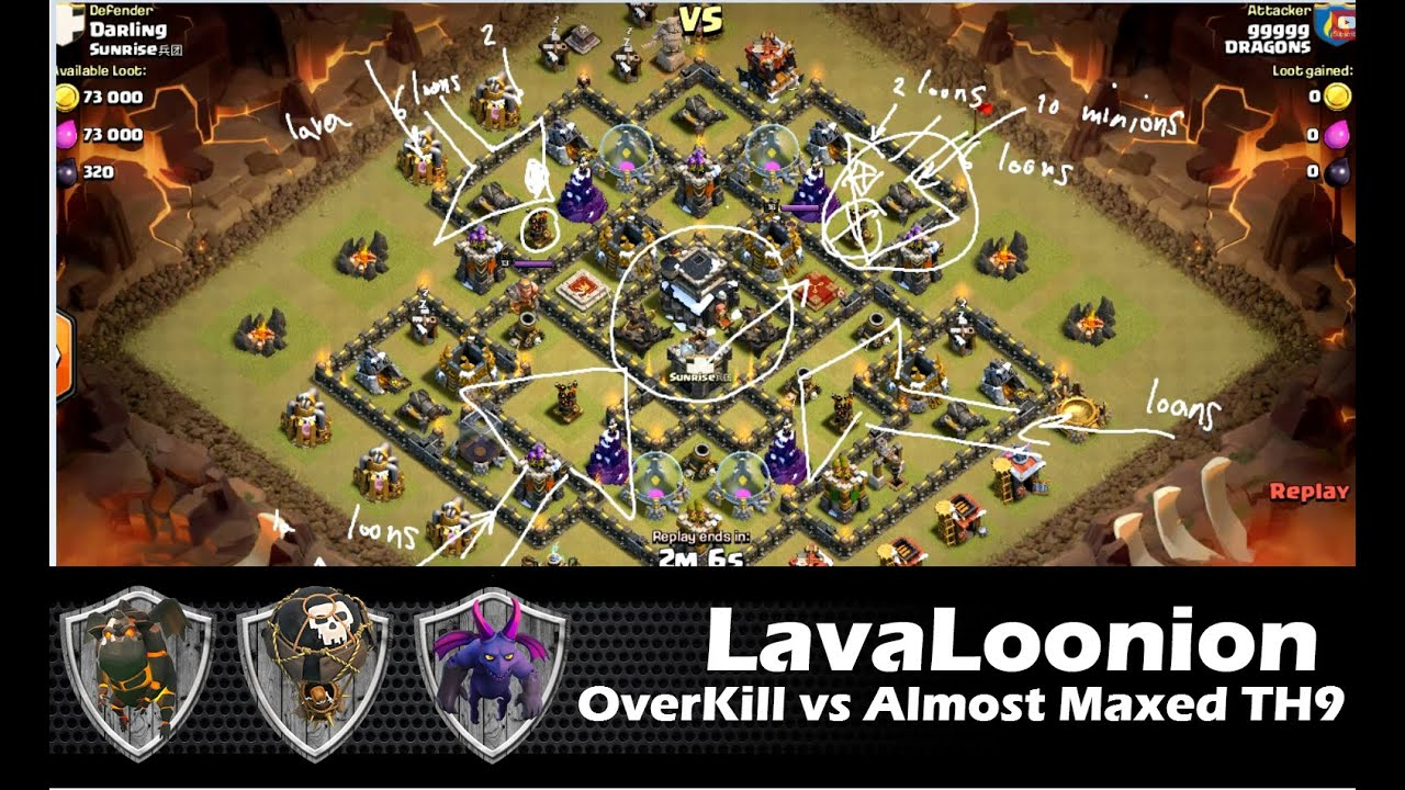 Lava hound in action with loonion th9 vs almost maxed t doovi