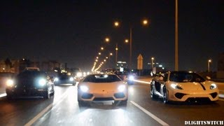Supercars go for a run in Qatar! 7 Supercars Accelerating & Revving