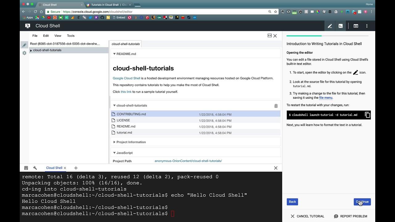 Google Cloud Shell Tutorials Demo