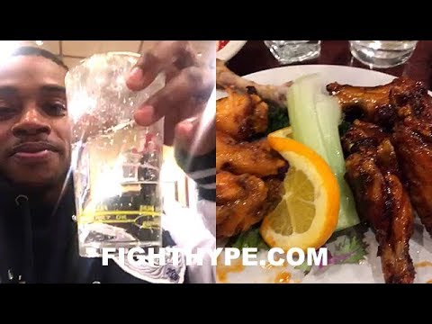 ERROL SPENCE POST-FIGHT CELEBRATION AFTER STOPPING PETERSON; DINNER WITH FRIENDS AND FAMILY
