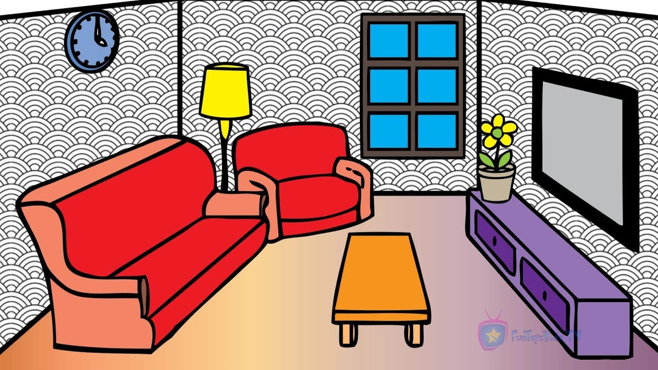 How To Draw Livingroom Coloring Pages For Kids Learn Colors With Baby   Living  Room