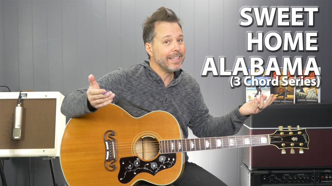It uses the d, c and g chord progression as you can see below. Sweet Home Alabama By Lynyrd Skynyrd 3 Chord Series Easy Guitar Lesson Youtube