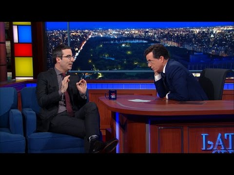 John Oliver was a guest last night on The Late Show with Stephen Colbert