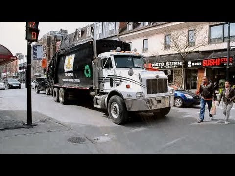 GARBAGE TRUCKS IN ACTION IN MONTREAL