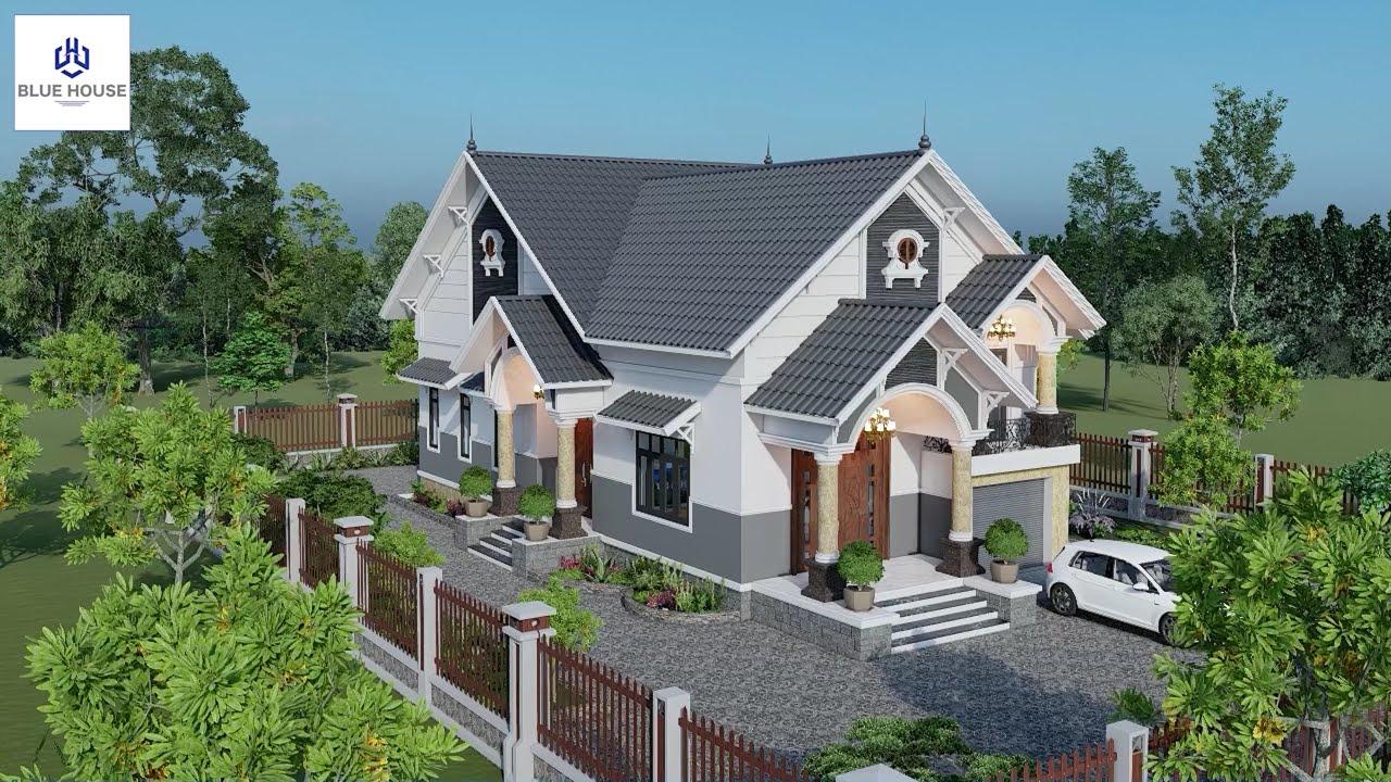 image Toàn cảnh bên ngoài mẫu nhà vườn mái thái siêu hot | Nhà Đẹp Blue House | 01
