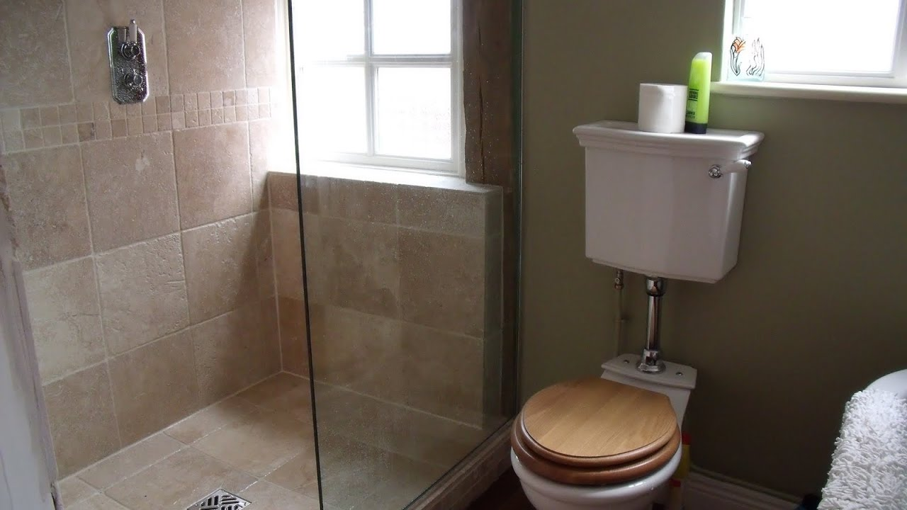 Small bathrooms with shower toilet and sink youtube for 7 x 4 bathroom designs